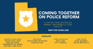"Community Groups Present Virtual Panel ""Coming Together on Police Reform"" @ Zoom Virtual Event - http://bit.ly/ut-reform-together"